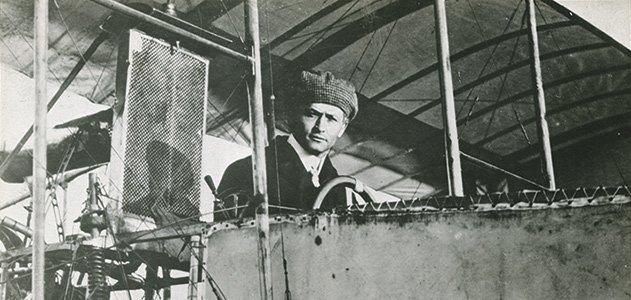 Houdini in his French biplane.